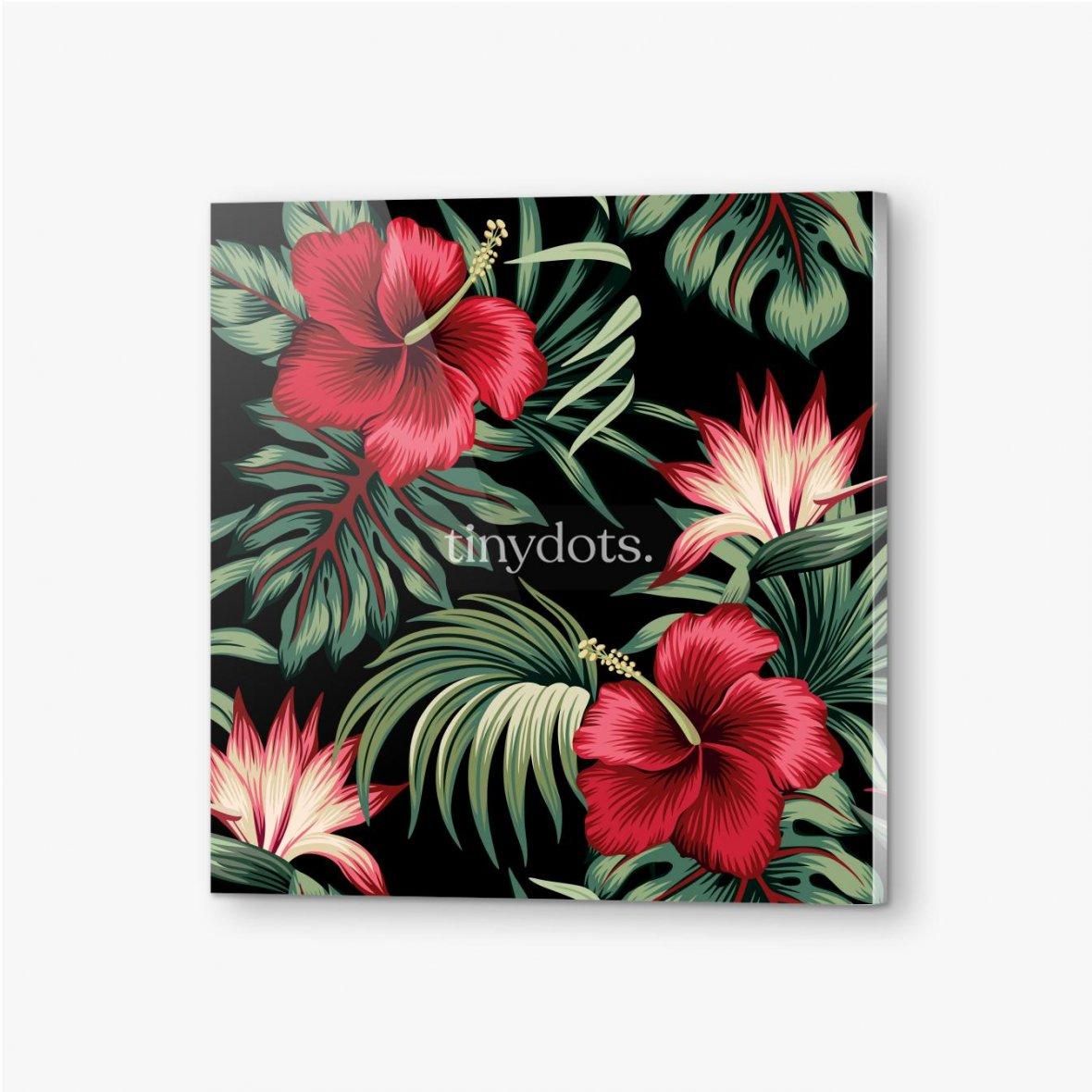 Bilder auf Acrylglas Tropischer Weinlese-roter Hibiskus und Strelitzia-Blumengrünpalmenblätter nahtloser Musterschwarzer Hintergrund. Exotischer Dsch