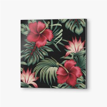 Bilder auf Alu-Dibond Tropischer Weinlese-roter Hibiskus und Strelitzia-Blumengrünpalmenblätter nahtloser Musterschwarzer Hintergrund. Exotischer Dsch