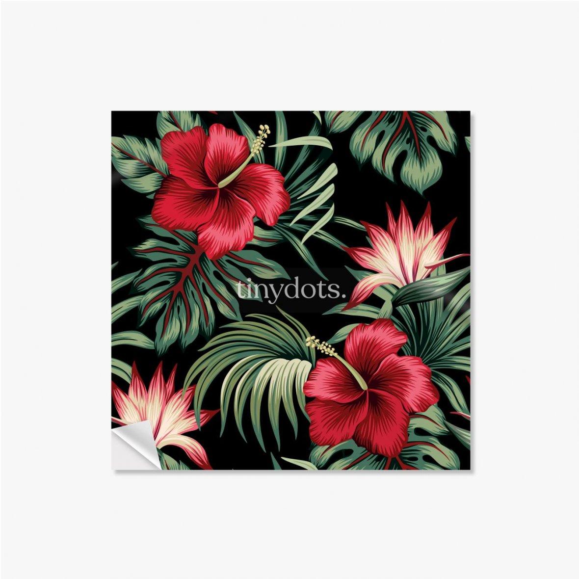 Selbstklebende Poster Tropischer Weinlese-roter Hibiskus und Strelitzia-Blumengrünpalmenblätter nahtloser Musterschwarzer Hintergrund. Exotischer Dsch