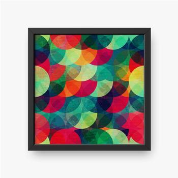 Gerahmte Leinwandbilder Buntes kreisförmiges nahtloses Muster mit Grunge-Effekt