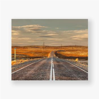 Poster Nördliche Landstraße zwischen Hügeln mit bunten Herbsttundra-Bäumen und Büschen an einem bewölkten Tag. Reise nach Teriberka. Ko