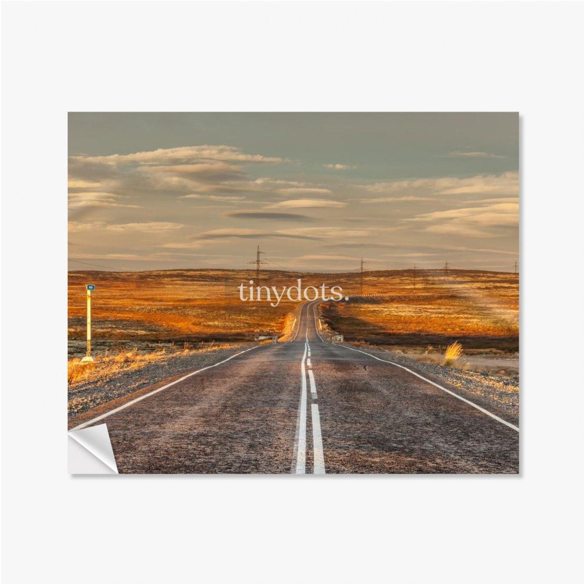 Selbstklebende Poster Nördliche Landstraße zwischen Hügeln mit bunten Herbsttundra-Bäumen und Büschen an einem bewölkten Tag. Reise nach Teriberka. Ko
