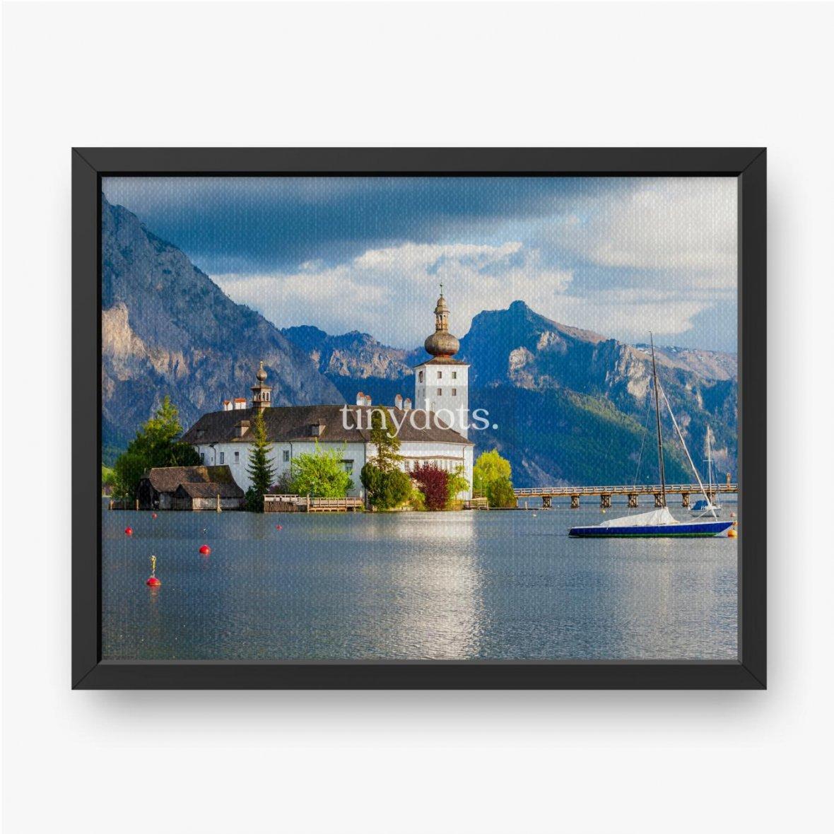 Gerahmte Leinwandbilder Gmunden Schloss Ort, Österreich