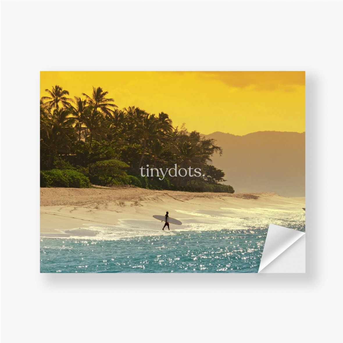 Aufkleber Surfer am Strand in Hawaii