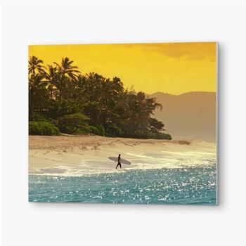 Bilder auf PVC Surfer am Strand in Hawaii