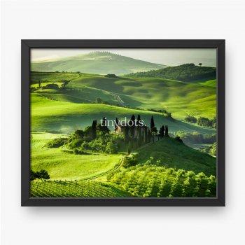 Bauernhof von Olivenhainen und Weinbergen, schöne Landschaft