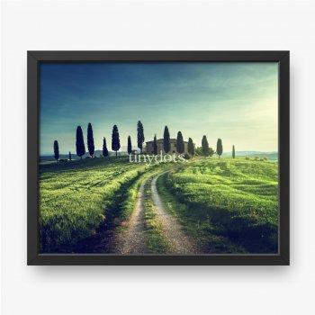 Klassische toskanische Ansichten in der Frühlingssonnenuntergangszeit, Pienza, Italien