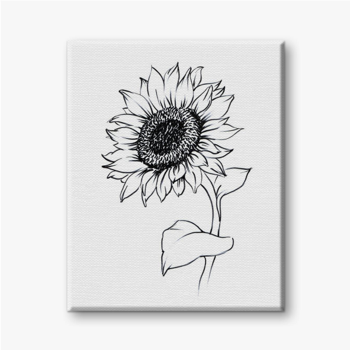 Gemalte Sonnenblume mit Schwarzweiss