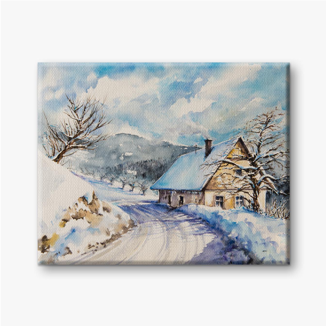 Winterlandschaft mit altem Haus in den Bergen nahe der mit Schnee bedeckten Straße. Bild mit Aquarellen erstellt.