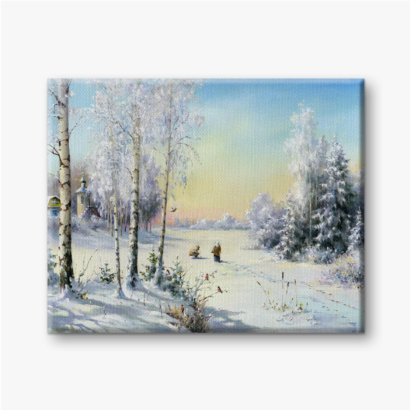 Winterdorf und Menschen, die auf dem Weg durch den Wald gehen