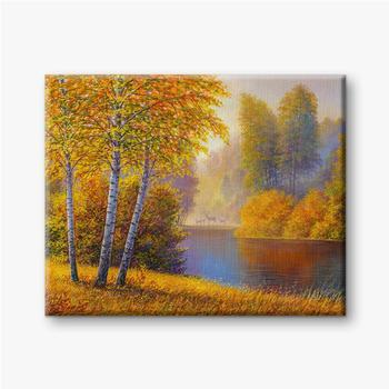 Bunter Herbstwald mit Fluss