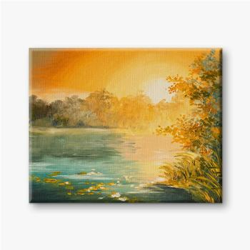 Sonnenuntergang am See, bunt.