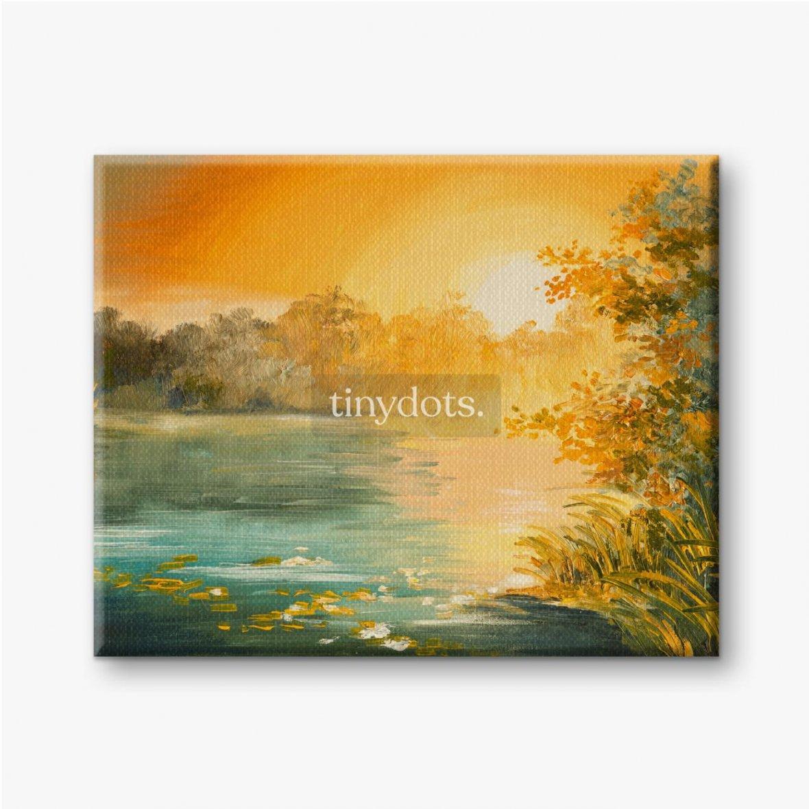 Leinwandbilder Sonnenuntergang am See, bunt.