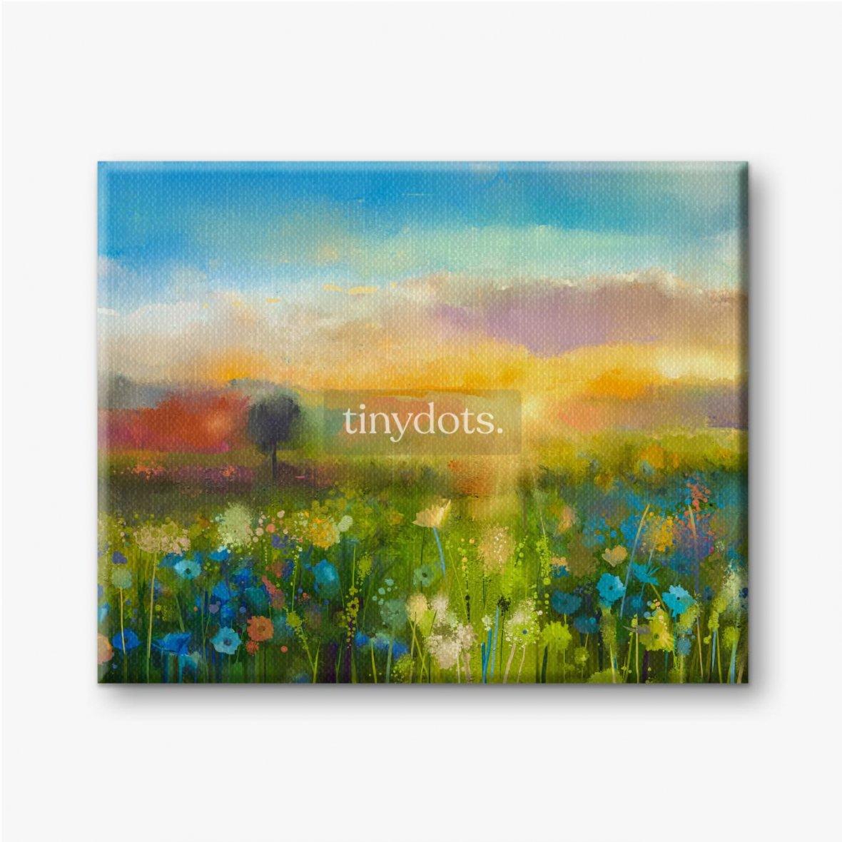 Leinwandbild Ölgemälde blüht Löwenzahn, Kornblume, Gänseblümchen in Feldern. Sonnenuntergangswiesenlandschaft mit Wildblume.