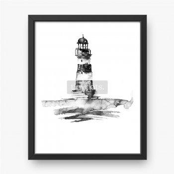 Akwarela ilustracja z latarni morskiej. Czarno-biały obraz, monochromatyczny, czarny sylwetka.