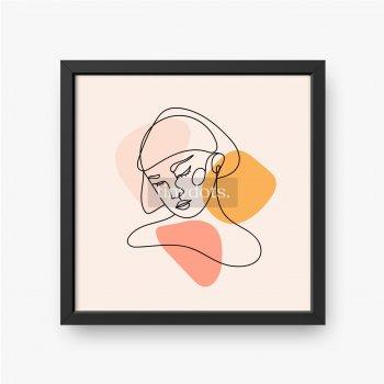 Modernes abstraktes Gesicht. Zeitgenössische weibliche Silhouette. Hand gezeichnete Umriss-Trendvektorillustration. Durchgehende