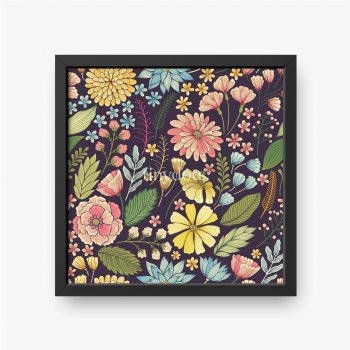 Kolorowe kwiaty i rośliny na czarnym tle