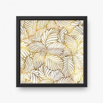 Liście ułożone w kwiaty mieniące się złotem