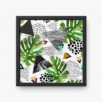 Tropikalne liście i geometryczne kształty