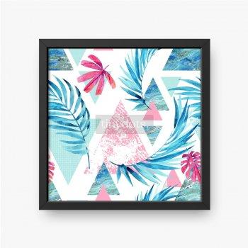 Abstrakcyjny wzór z egzotycznych liści ułożonych i trójkątów