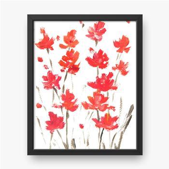Acrylfarbmalerei der roten Blumen auf Weiß.