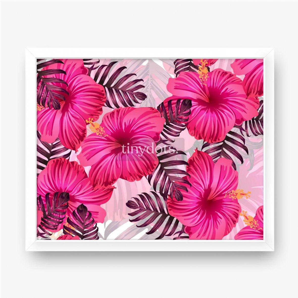 Plakat w ramie Różowe duże kwiaty hibiskusa z żółtym pyłkiem