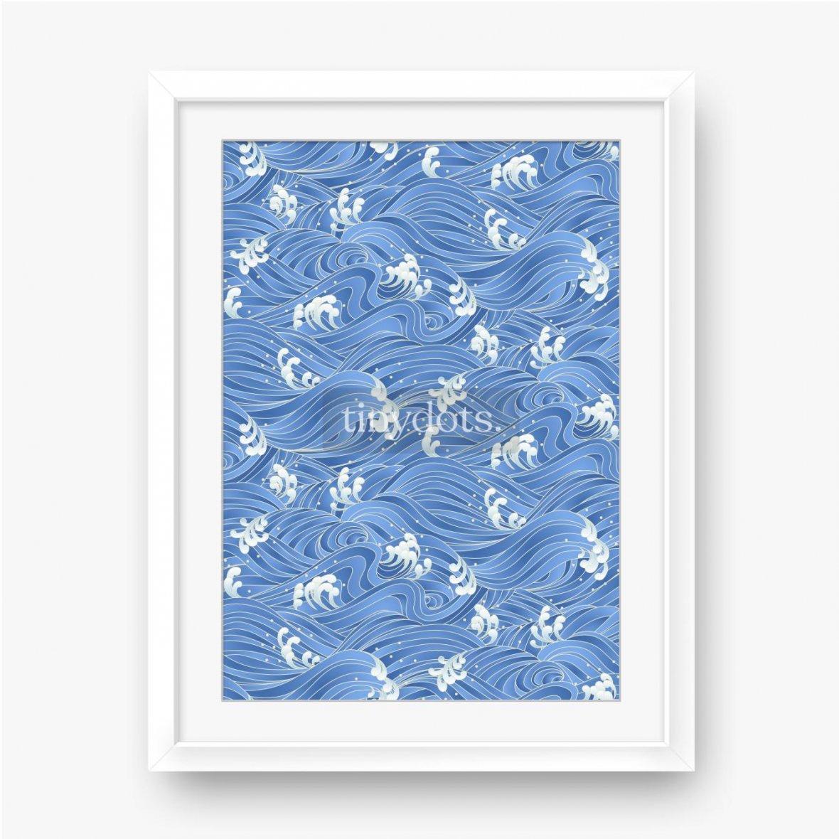 Plakat w ramie Błękitno-białe, bajkowe fale