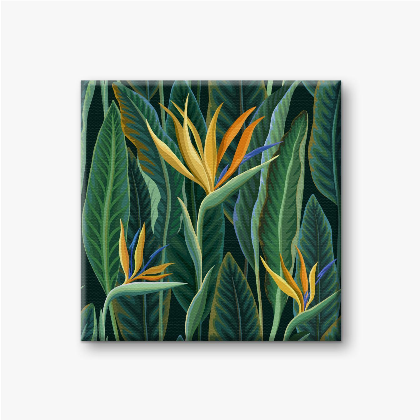 Grüne tropische Blätter und gelbe Blüten