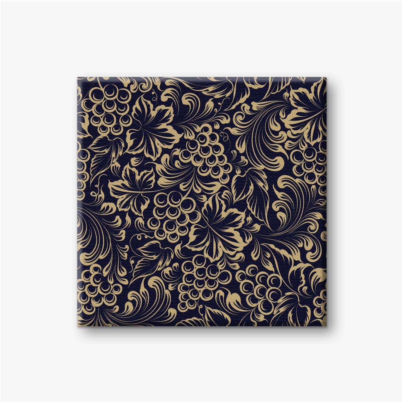 Trauben und Blätter mit Goldtinte auf schwarzem Hintergrund gemacht