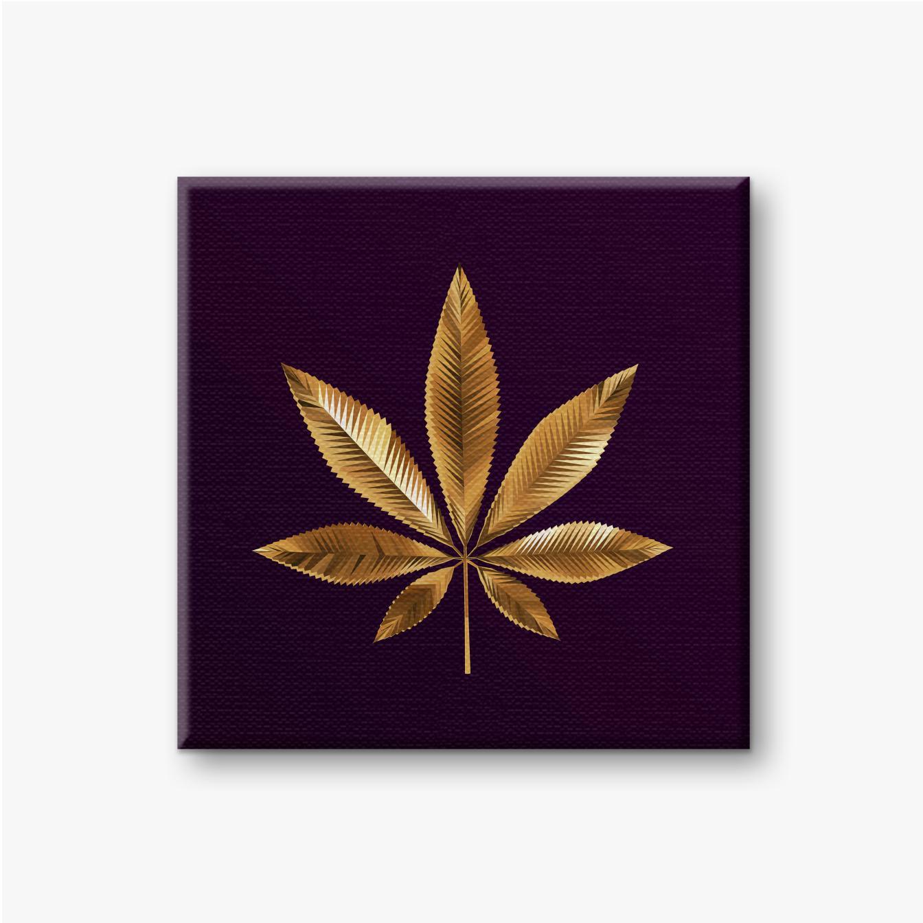 Gold Cannabisblatt auf dunkelviolettem Hintergrund
