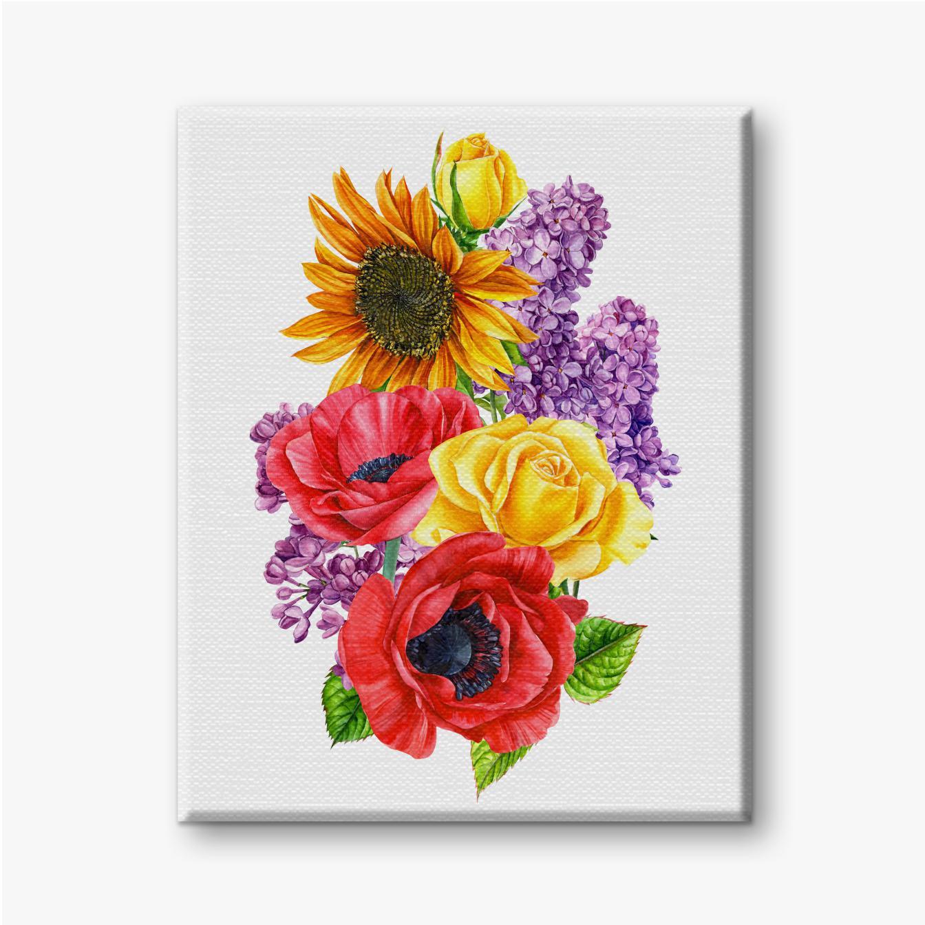 Strauß gelber Rosen, roter Mohnblumen, Flieder und Sonnenblumen