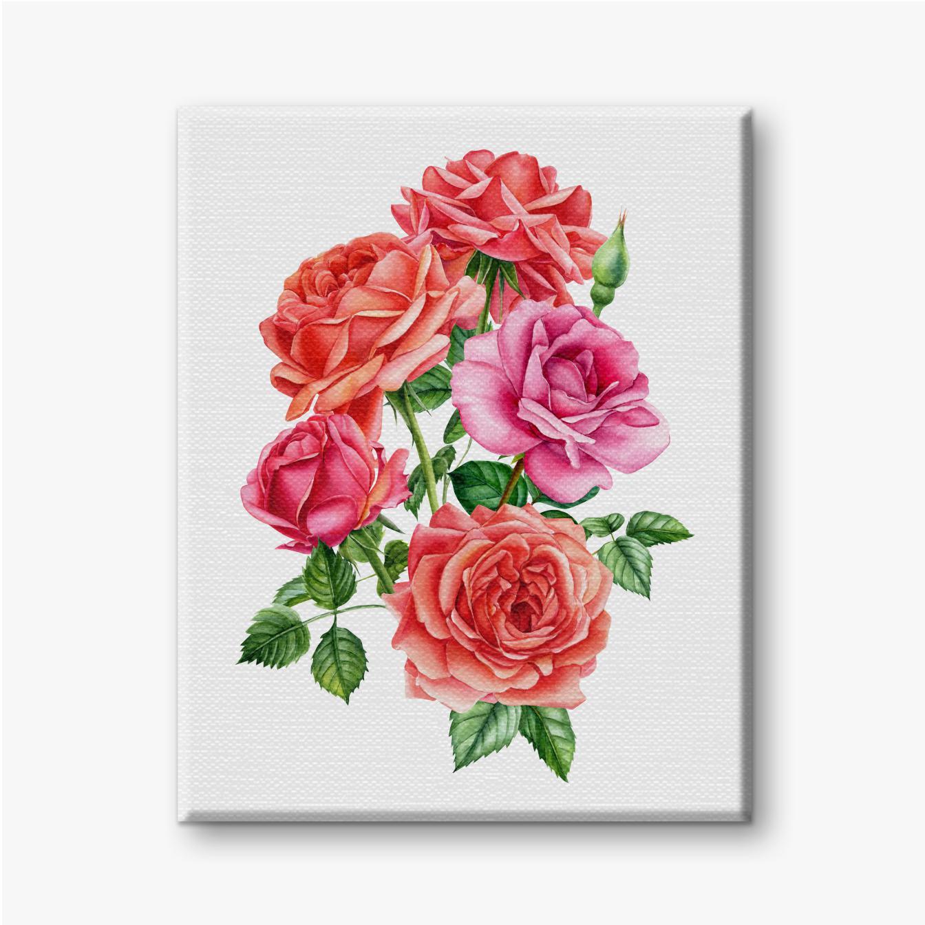 Strauß der roten und rosa Rosen auf hellem Hintergrund