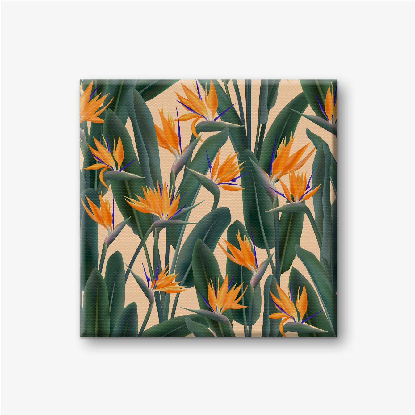 Leinwandbild Viele Strelitzia-Paradiesvögel