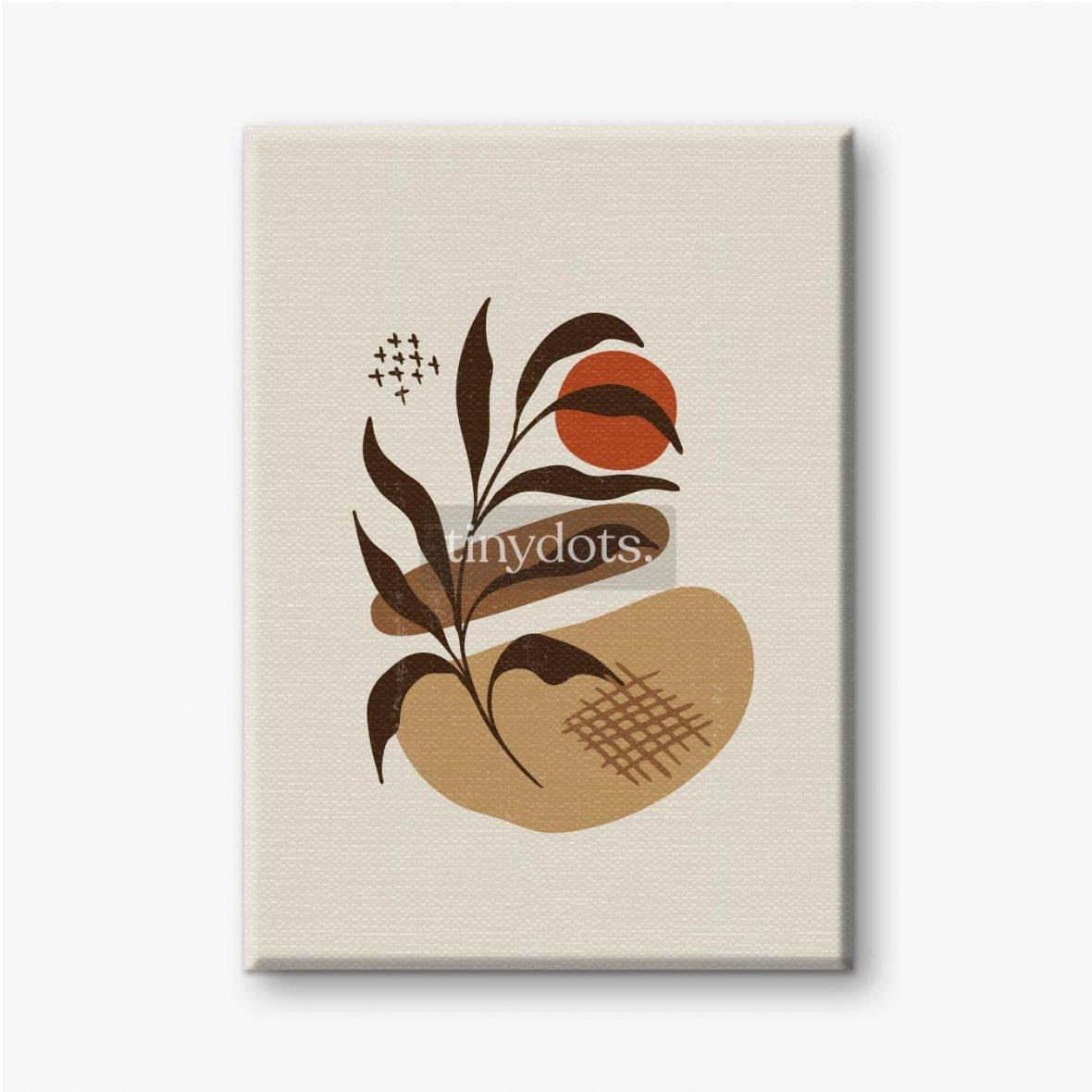Leinwandbild Boho minimalistische Kunst mit Pflanze