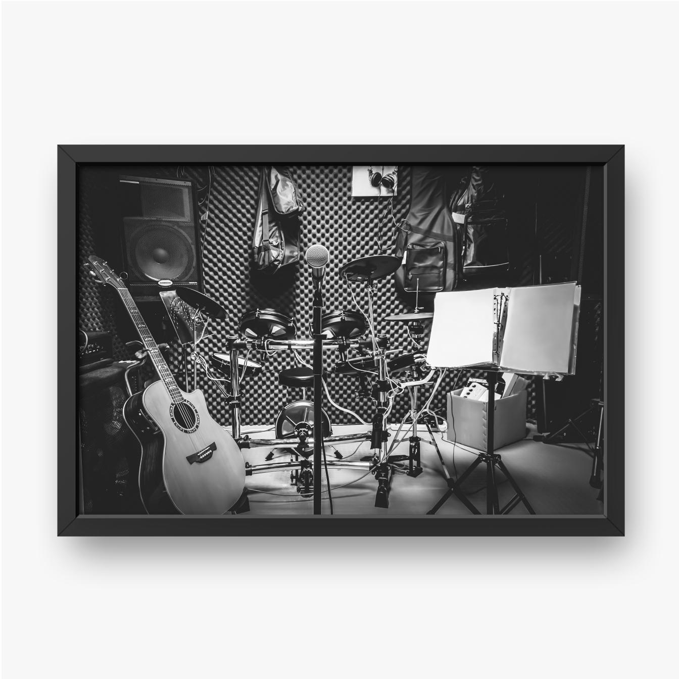 Musikinstrumente in einem Tonstudio