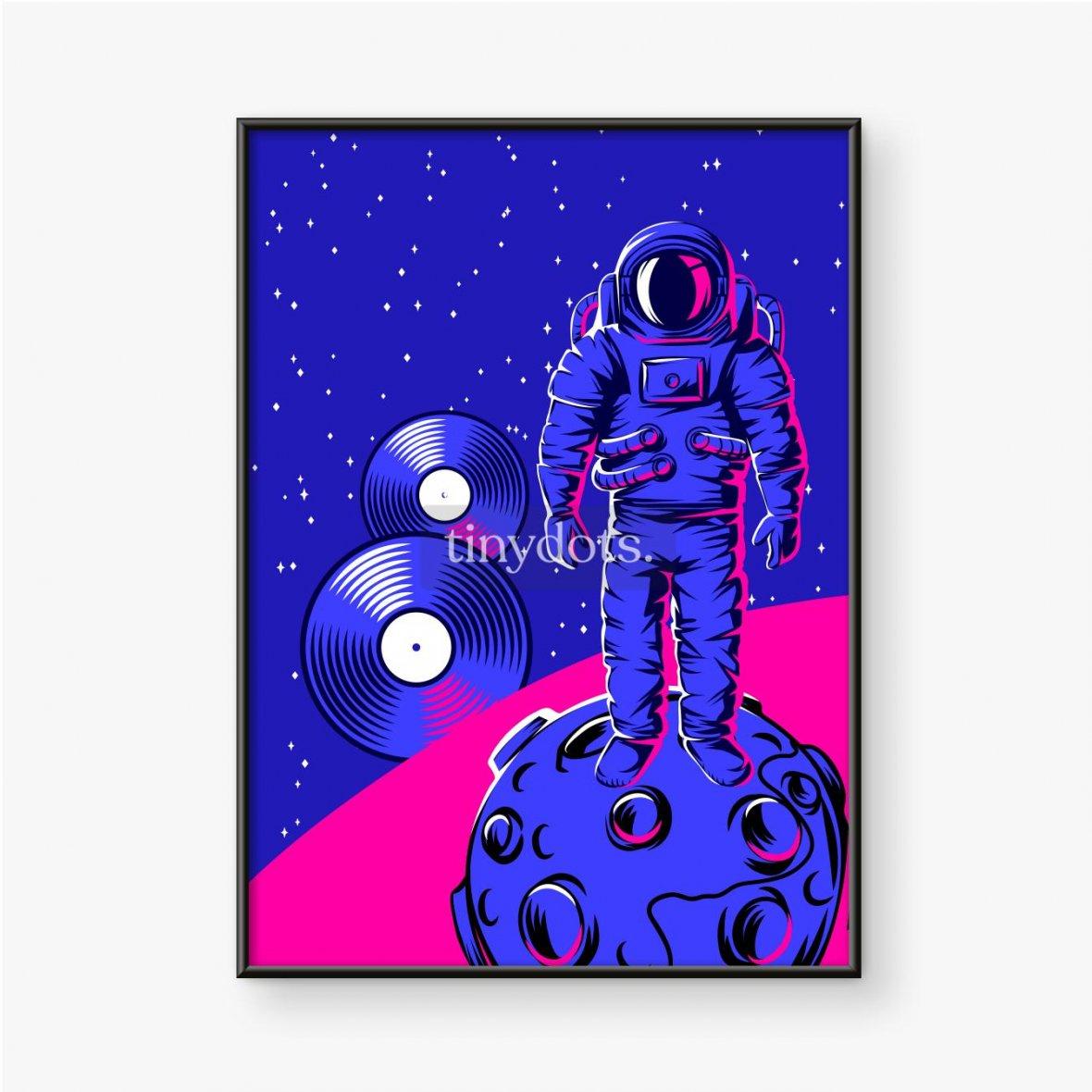 Gerahmtes Poster Astronaut auf Mond in rosa und blauen Farben