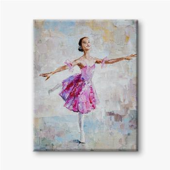 Ölgemälde, Mädchenballerina. gezeichnete niedliche Ballerina tanzen