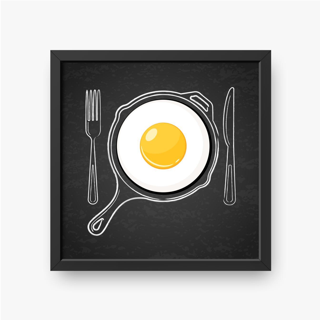 Jajko sadzone na patelni z widelcem i nożem