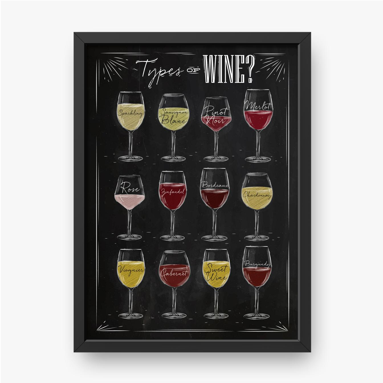 Różnokolorowe rodzaje win
