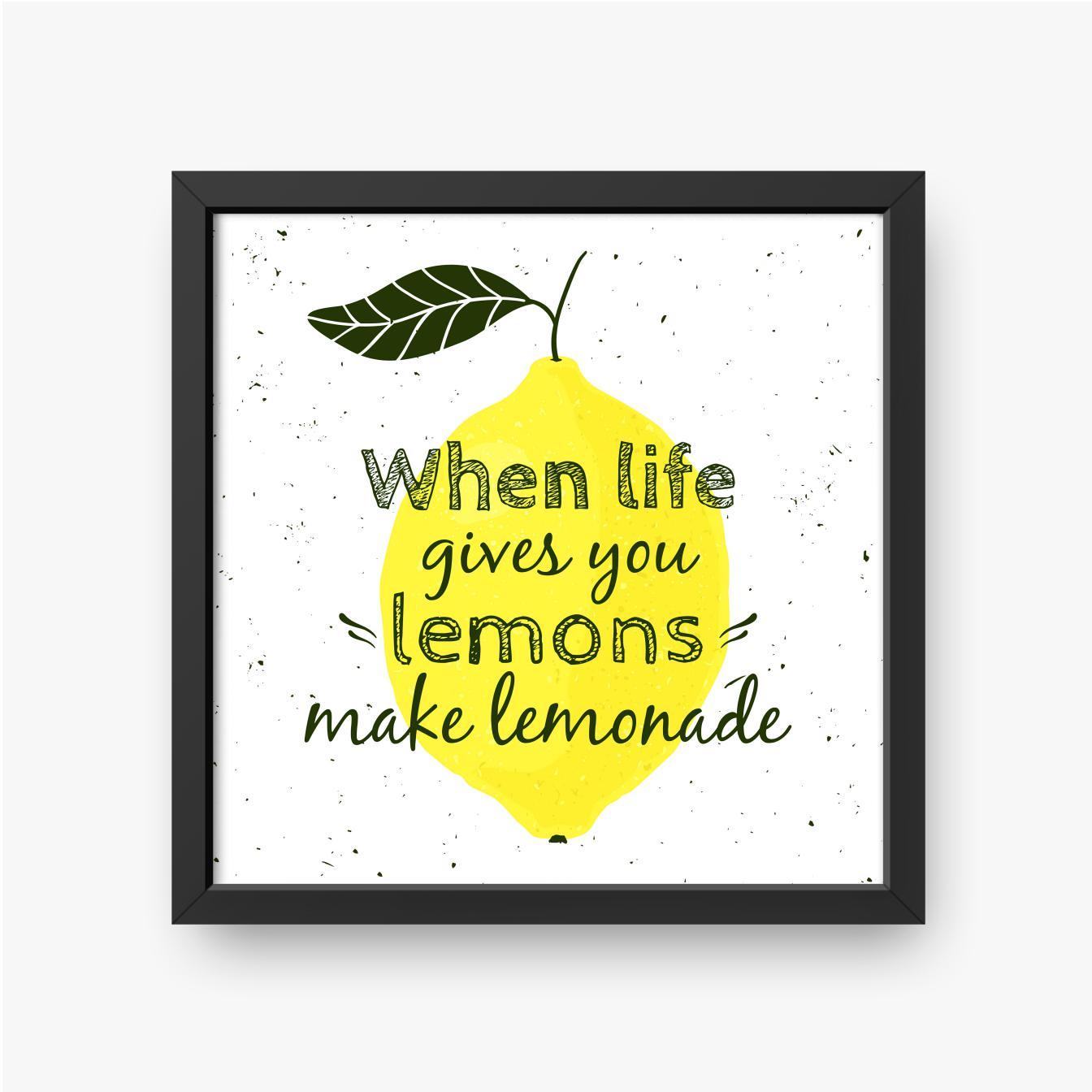 Schwarzer Text auf Zitronenhintergrund