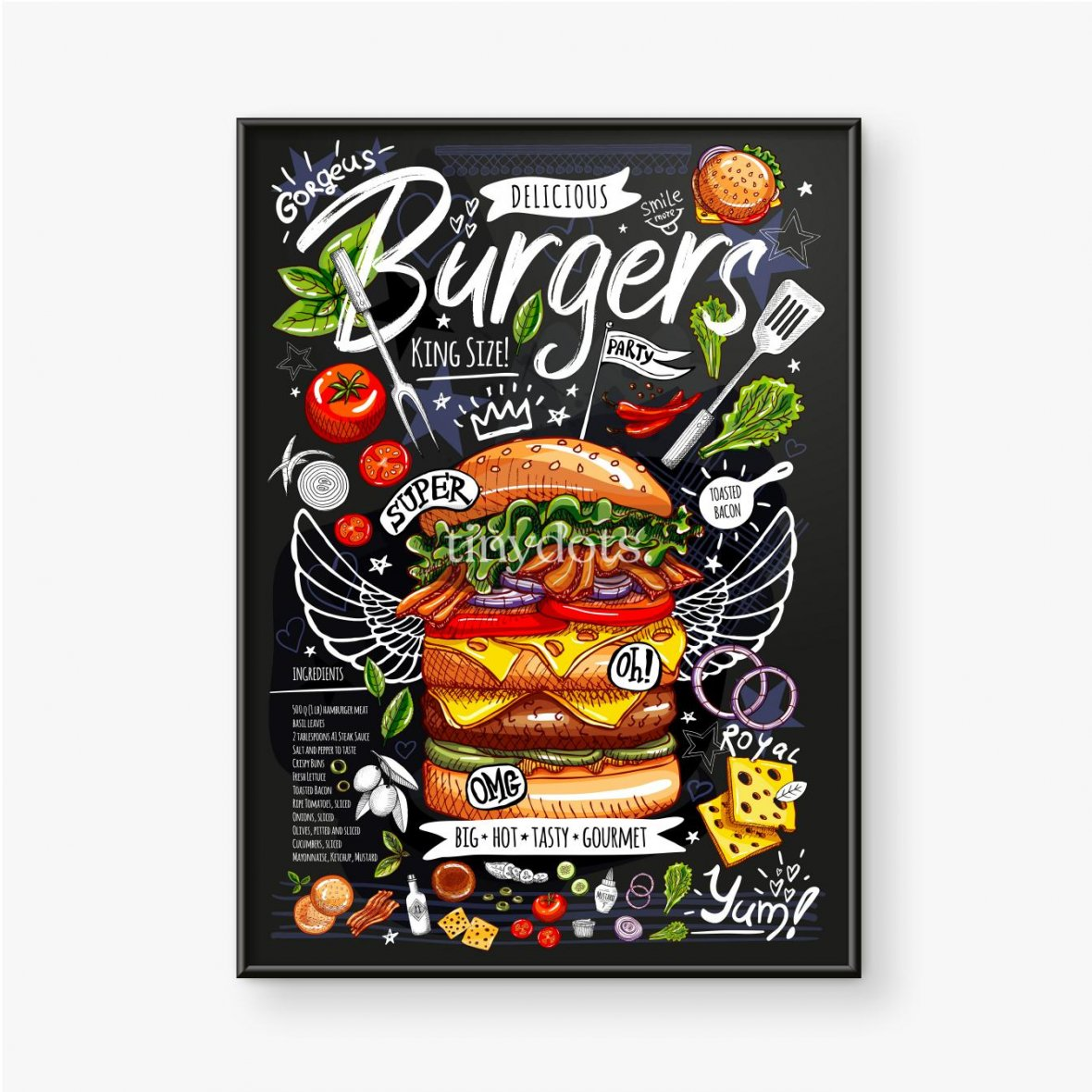 Gerahmtes Poster Ein riesiger Burger und Zutaten um ihn herum auf einem dunklen Hintergrund