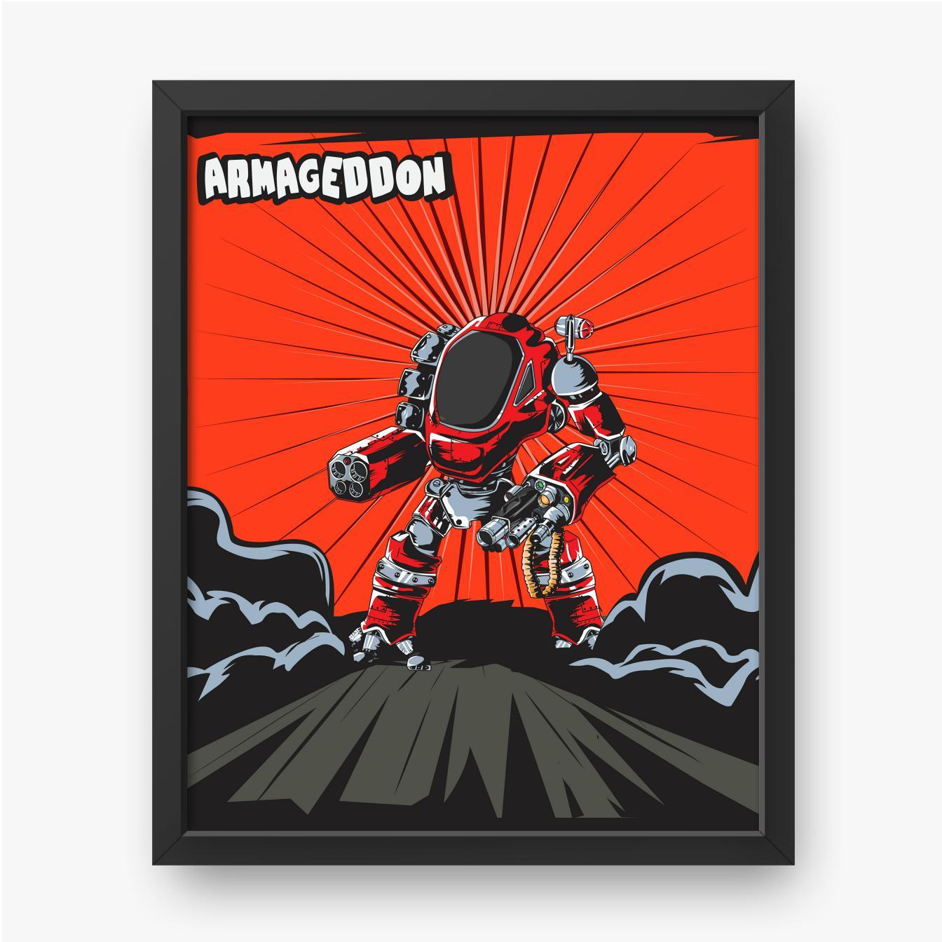 Kreskówkowy wojownik robot na czerwonym tle
