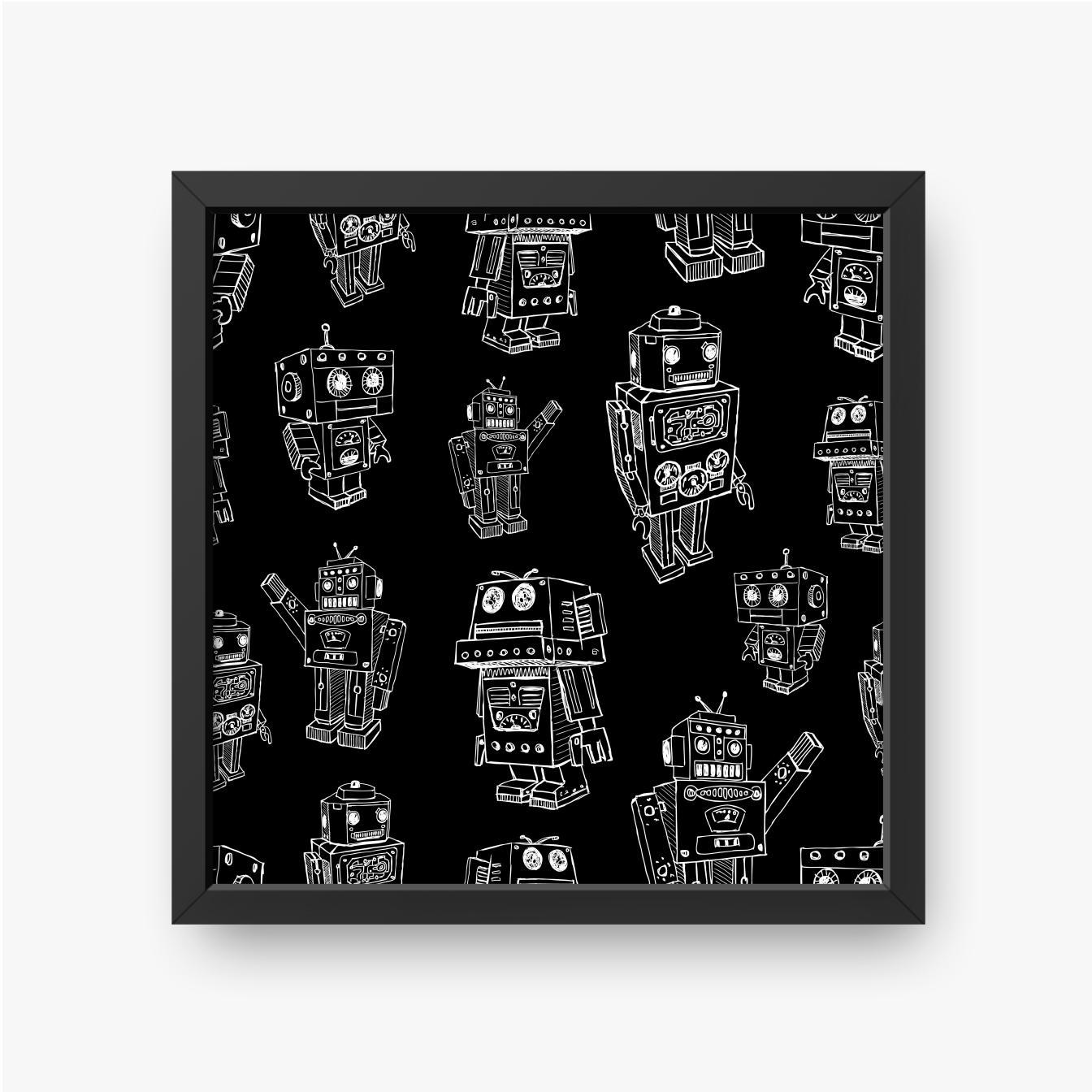 Szkice białych robotów na czarnym tle