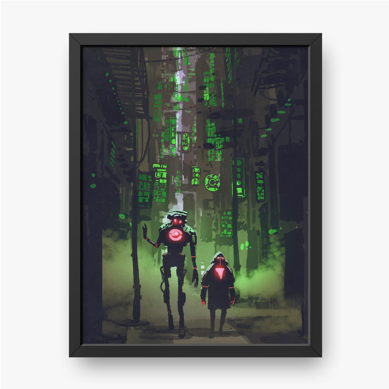 Dwa roboty spacerujące w wąskiej uliczce z zielonymi światłami