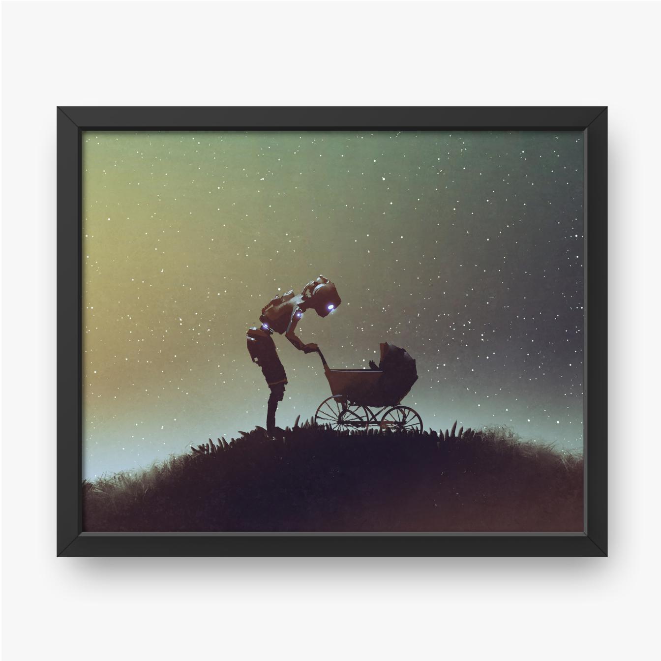 Robot patrzący na dziecko w wózku na tle rozgwieżdżonego nieba