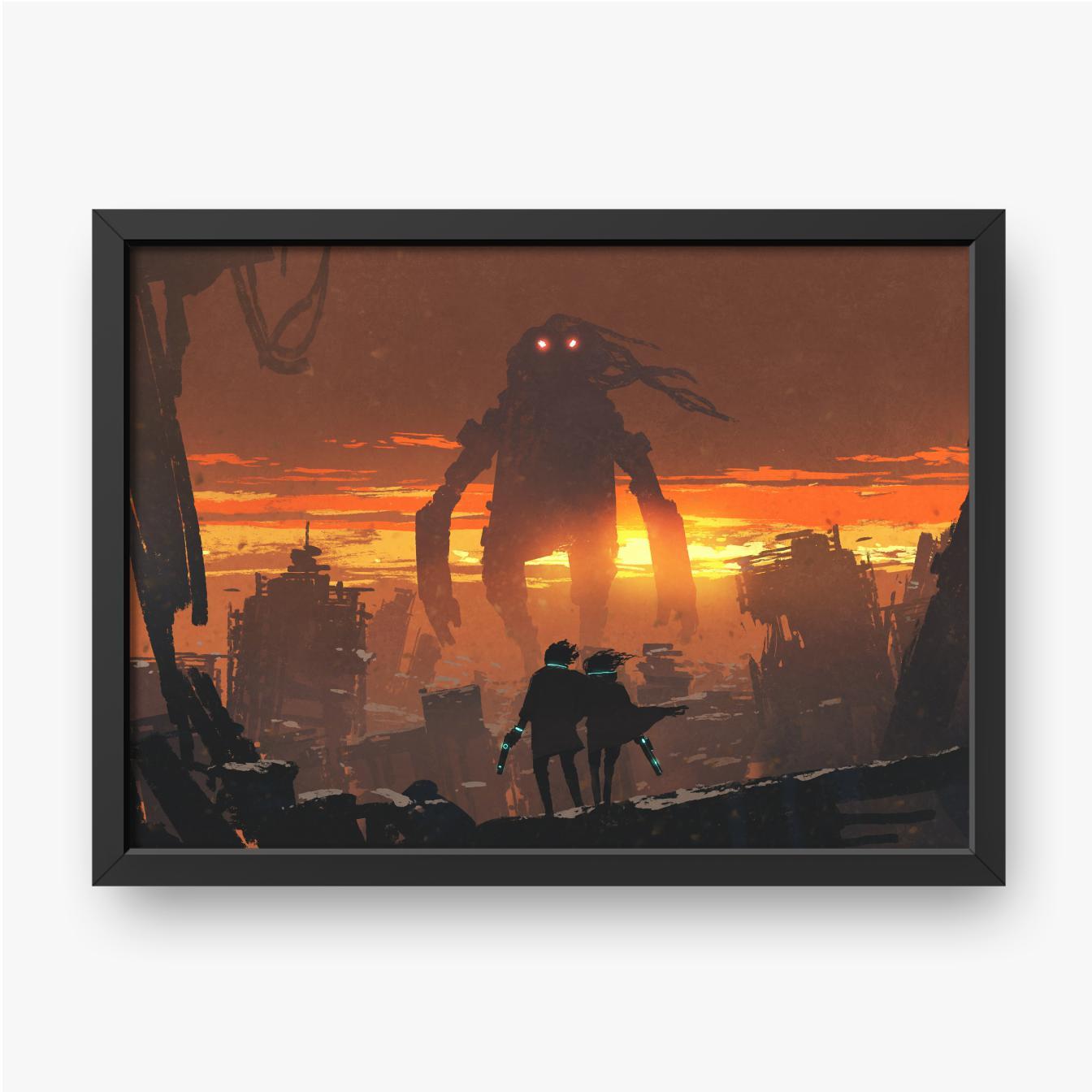 Para trzymająca broń i patrząca na gigantycznego robota stojącego w zniszczonym mieście