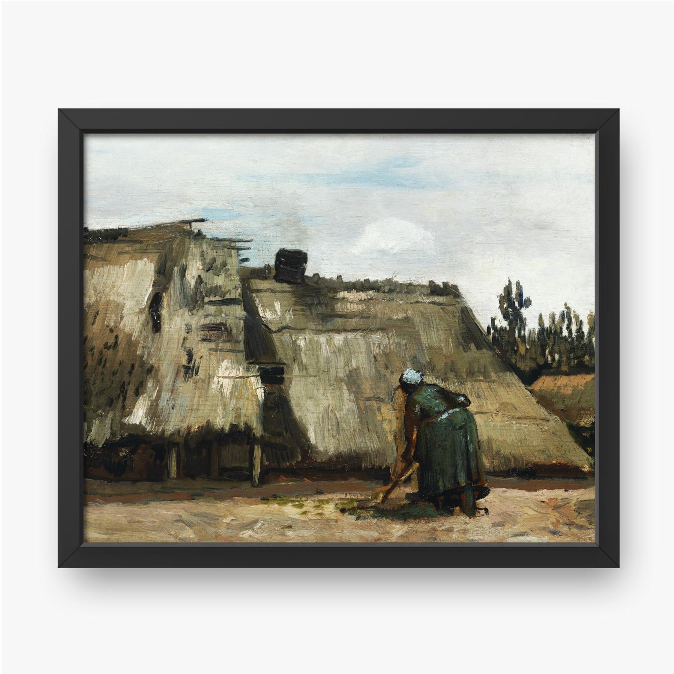 Vincent van Gogh, Eine Bäuerin, die vor ihrem Häuschen gräbt, 1885