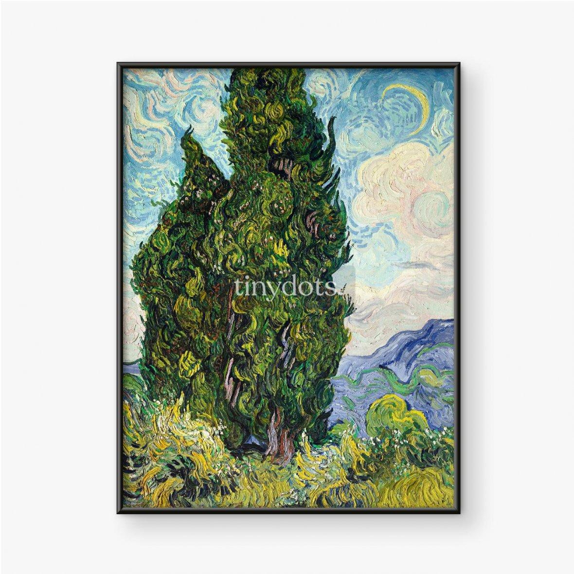 Plakat w ramie Vincent van Gogh, Cyprysy, 1889