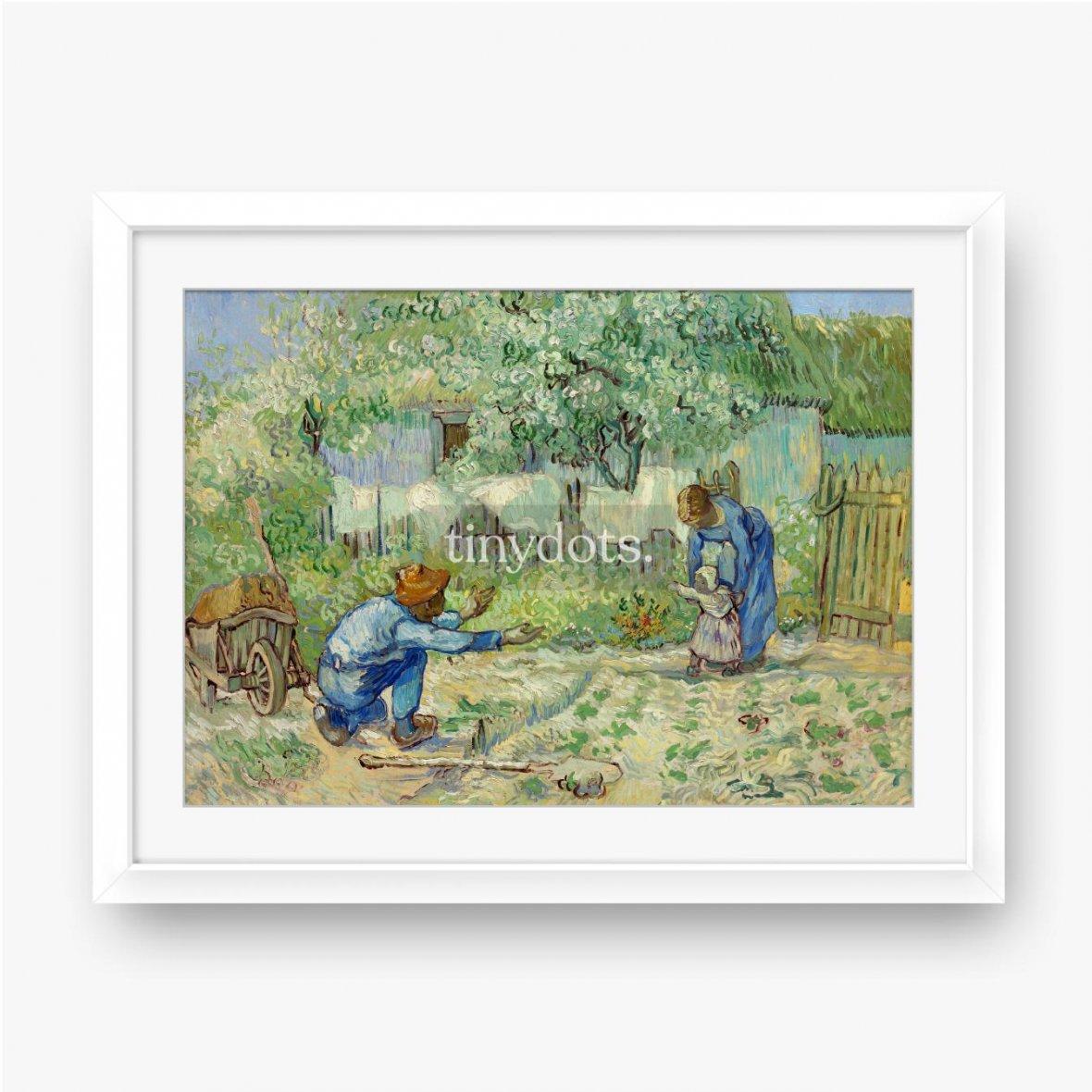 Gerahmtes Poster Vincent van Gogh, Erste Schritte nach Millet, 1890