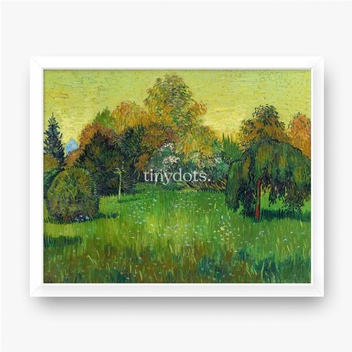 Gerahmtes Poster Vincent van Gogh, Der Dichtergarten, 1888